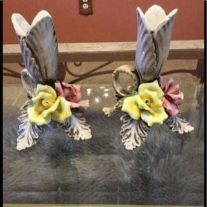 Pair of Capodimonte Candle Holders
